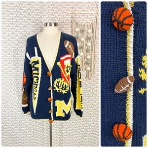 Vtg Michigan Wolverines Sports Sweater Cardigan